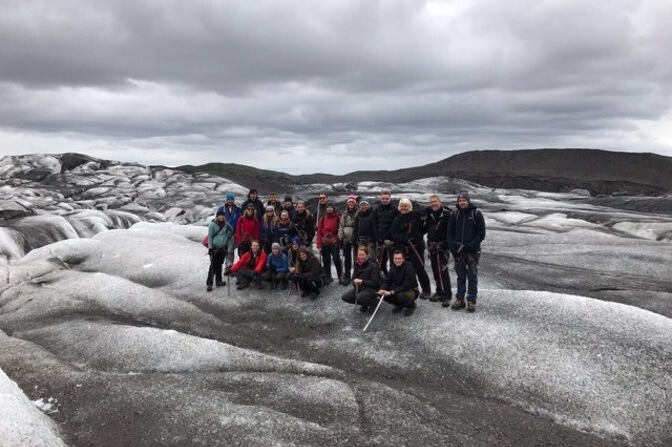Students on a glacier